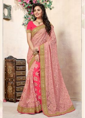 Embroidered Net Half N Half Trendy Saree in Hot Pink and Pink