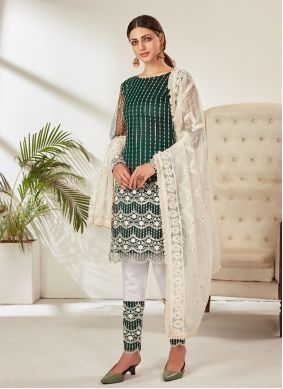 Green Embroidered Net Pant Style Suit