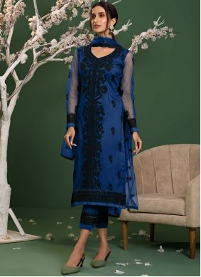 Blue Embroidered Net Pant Style Suit