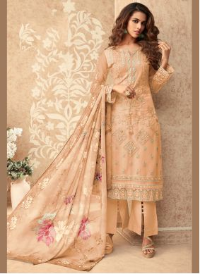 Embroidered Net Peach Designer Palazzo Suit