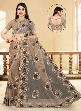Embroidered Net Trendy Saree in Brown