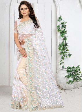 Embroidered Net Trendy Saree in White