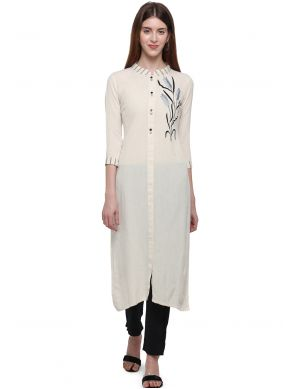 Embroidered Off White Casual Kurti