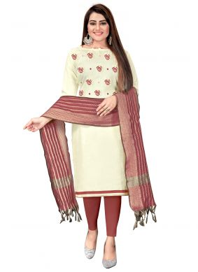 Embroidered Off White Churidar Suit
