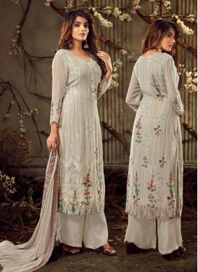 Embroidered Off White Georgette Palazzo Suit