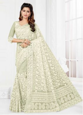 Embroidered Off White Net Trendy Saree