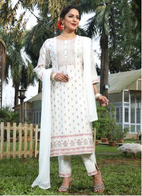 Embroidered Off White Silk Pant Style Suit
