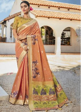 Embroidered Orange Designer Saree