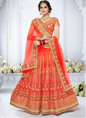 Embroidered Orange Lehenga Choli