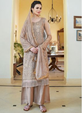 Embroidered Organza Designer Palazzo Suit in Brown