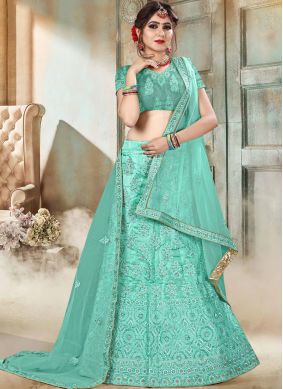 Embroidered Organza Lehenga Choli in Sea Green