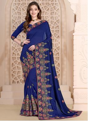 Blue Embroidered Party Designer Saree