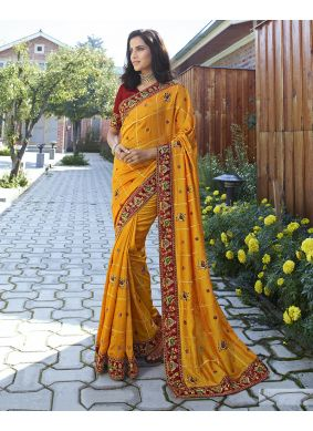 Yellow Embroidered Party Designer Saree