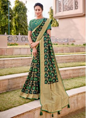 Embroidered Party Half N Half  Saree