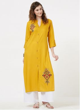 Mustard Embroidered Party Party Wear Kurti