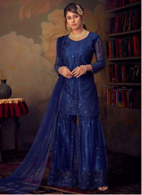 Embroidered Party Trendy Palazzo Suit