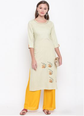 Cream Embroidered Party Wear Kurti