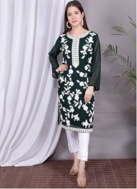 Green Embroidered Party Wear Kurti