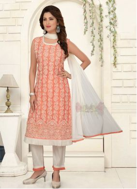 Embroidered Peach Chanderi Pant Style Suit