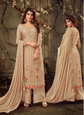 Embroidered Peach Georgette Trendy Suit