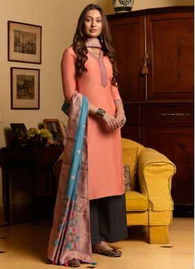 Embroidered Peach Muslin Palazzo Salwar Suit