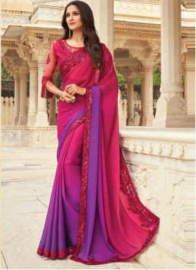 Embroidered Pink and Purple Shaded Saree