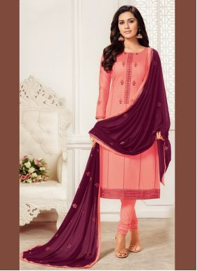 Embroidered Pink Churidar Salwar Suit