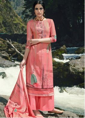 Embroidered Pink Designer Palazzo Suit