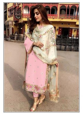 Embroidered Pink Designer Straight Suit