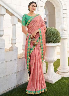 Embroidered Pink Fancy Fabric Traditional Saree