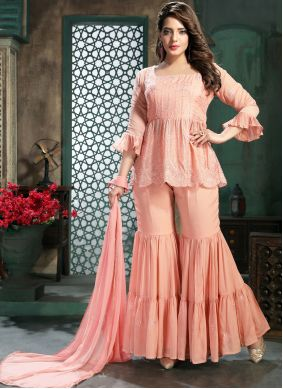 Embroidered Pink Faux Chiffon Readymade Suit