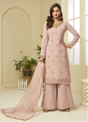 Embroidered Pink Faux Georgette Designer Palazzo Suit