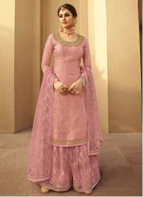 Embroidered Pink Jacquard Silk Designer Palazzo Suit