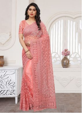 Embroidered Pink Net Designer Saree