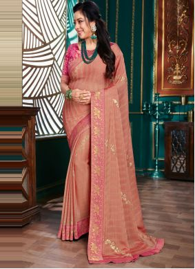 Embroidered Pink Rupali Ganguly Traditional Saree
