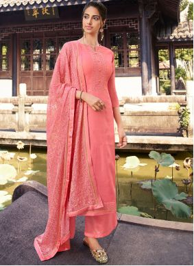 Embroidered Pink Silk Designer Palazzo Suit