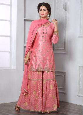 Embroidered Pink Trendy Palazzo Suit