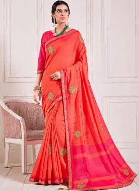 Embroidered Poly Silk Designer Traditional Saree in Red