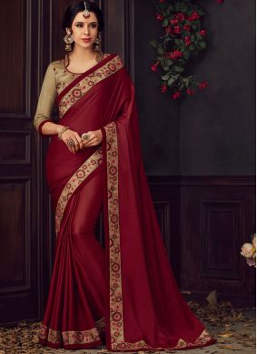Embroidered Poly Silk Saree in Maroon