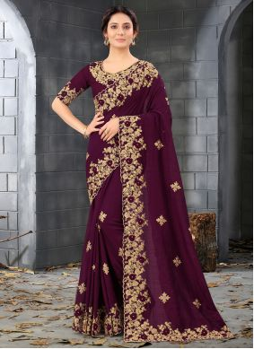 Embroidered Purple Silk Designer Saree