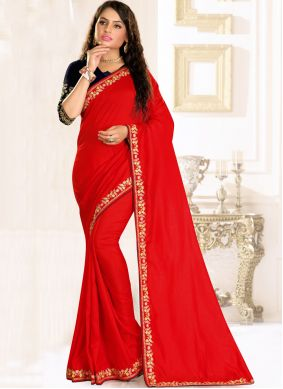 Embroidered Raw Silk Traditional Saree