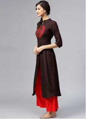 Embroidered Rayon Brown Designer Kurti