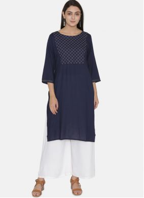 Blue Embroidered Rayon Casual Kurti