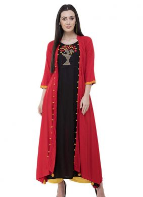 Embroidered Rayon Designer Kurti in Black and Red