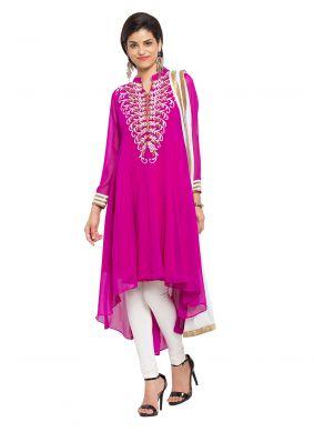 Purple Embroidered Readymade Salwar Kameez