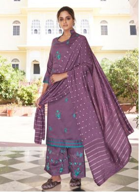 Embroidered  Purple Readymade Suit
