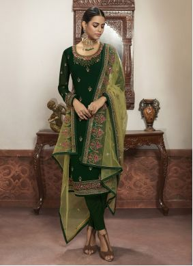 Green Embroidered Reception Pant Style Suit