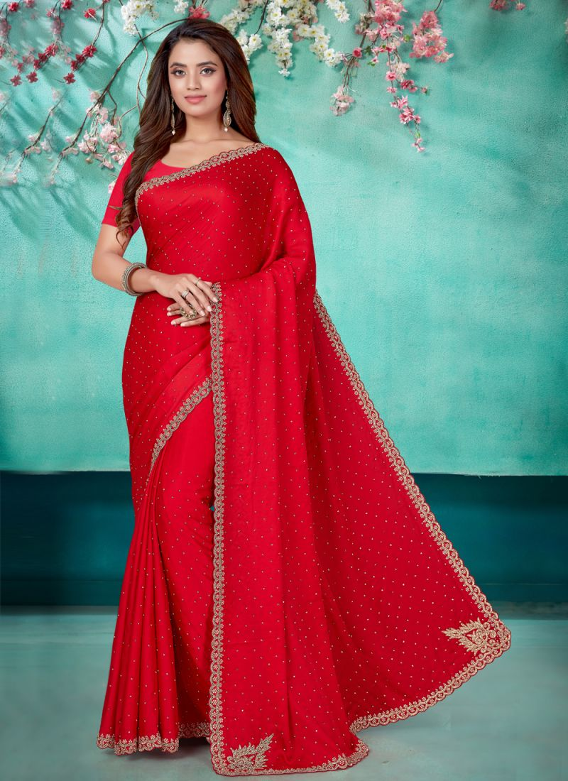 Embroidered Red Designer Traditional Saree