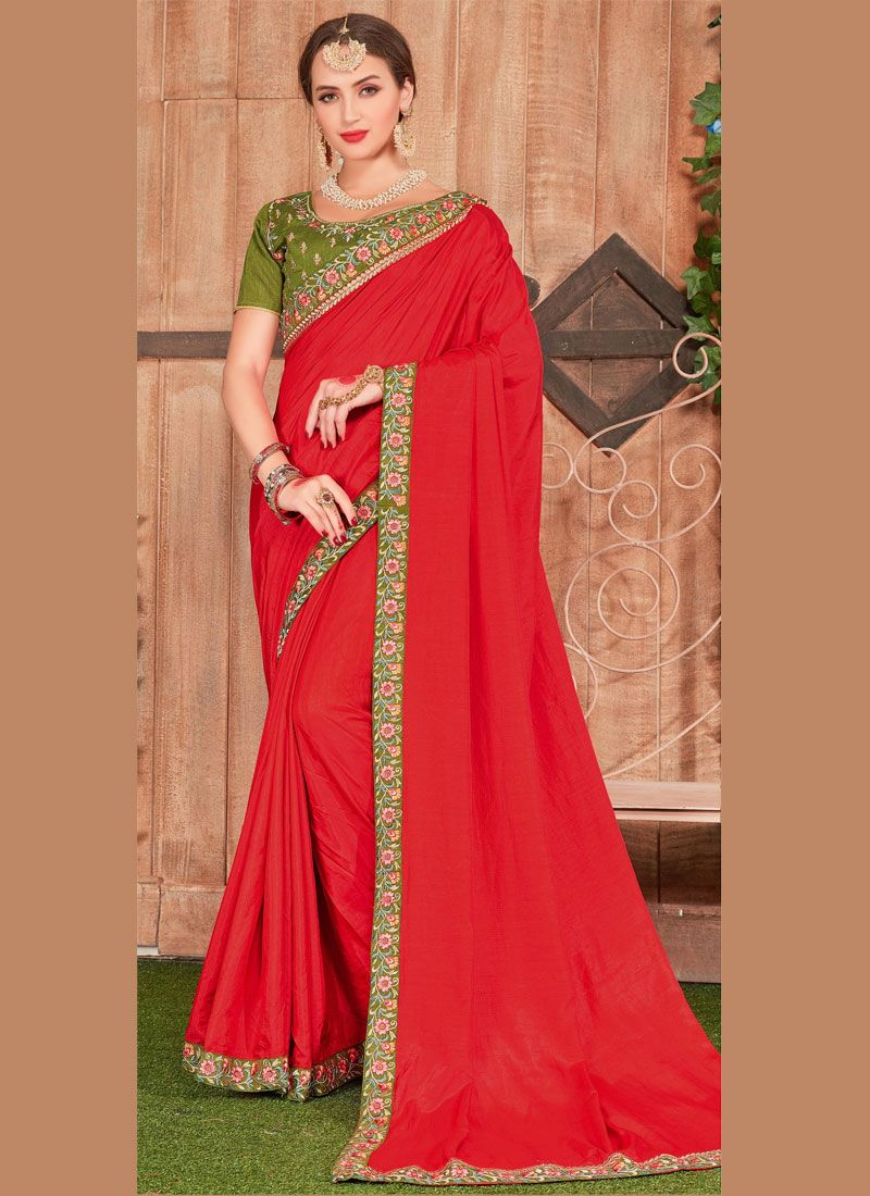 Embroidered Red Fancy Fabric Classic Designer Saree