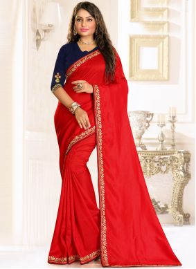 Embroidered Red Raw Silk Designer Traditional Saree